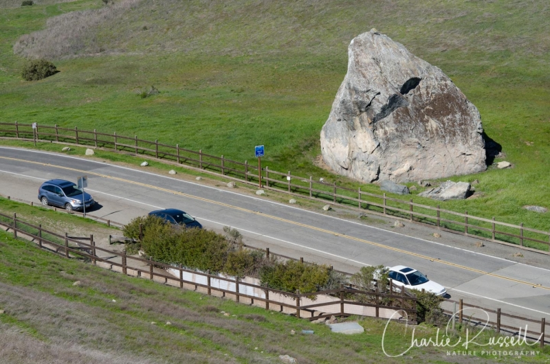 The Big Rock, and parking for the hike