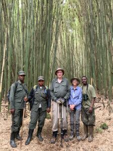 My wife and I, with some of our guides and porters on the edge of the national park. That is bamboo behind us