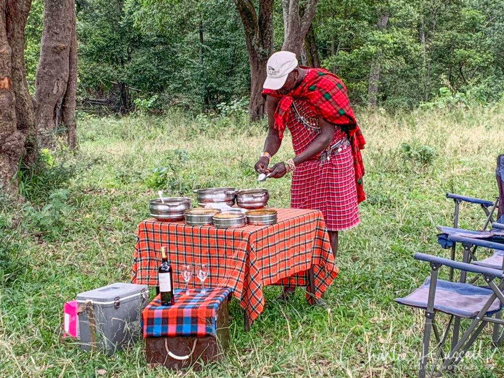 Just a simple lunch on the way in to camp from the airport. That is Matura, our Maasai spotter